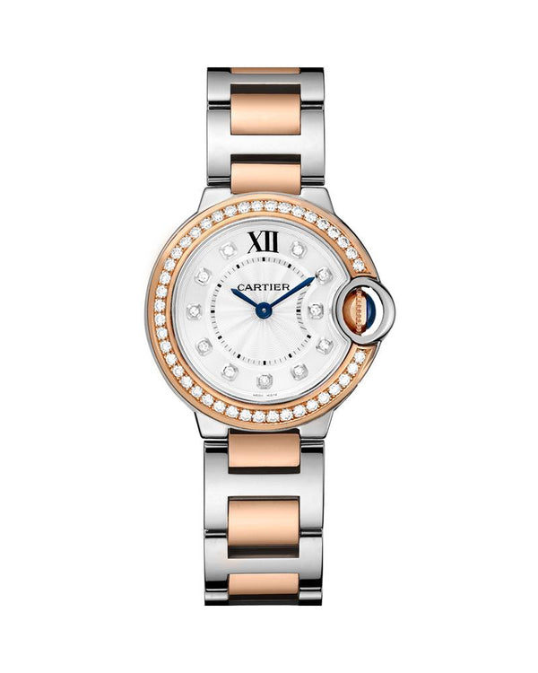 BALLON BLEU DE CARTIER, 28 MM, ROSE GOLD, STEEL, DIAMONDS