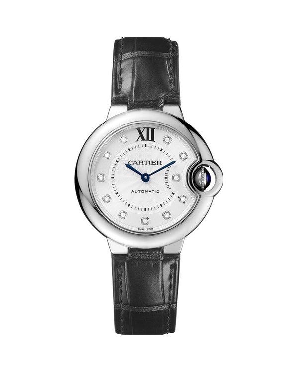 BALLON BLEU DE CARTIER, 33 MM, STEEL, LEATHER, DIAMONDS