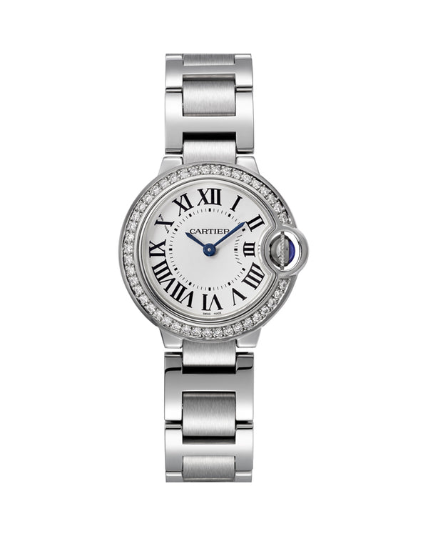 BALLON BLEU DE CARTIER, 28 MM, STEEL, DIAMONDS