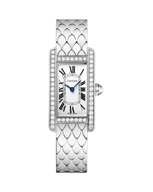 TANK AMERICAINE, SMALL, RHODIUM-FINISH, 18K WHITE GOLD, DIAMONDS