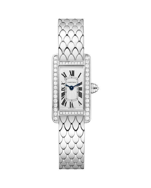 TANK AMERICAINE, MINI, RHODIUM-FINISH 18K WHITE GOLD, DIAMONDS