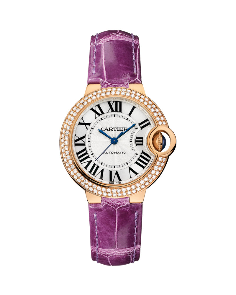 BALLON BLEU DE CARTIER, 33 MM, 18K ROSE GOLD, DIAMONDS, LEATHER