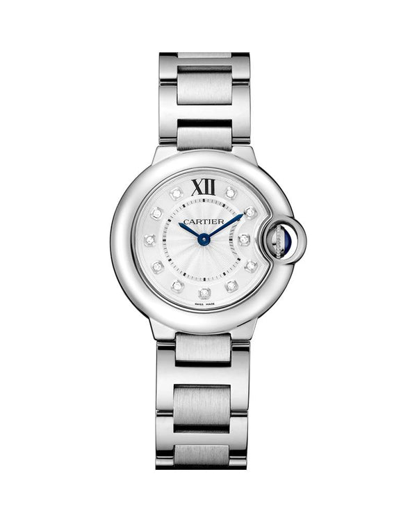 BALLON BLEU DE CARTIER, 28 MM, QUARTZ MOVEMENT, STEEL, DIAMONDS