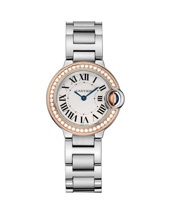 BALLON BLEU DE CARTIER, 28 MM, ROSE GOLD AND STEEL, DIAMONDS
