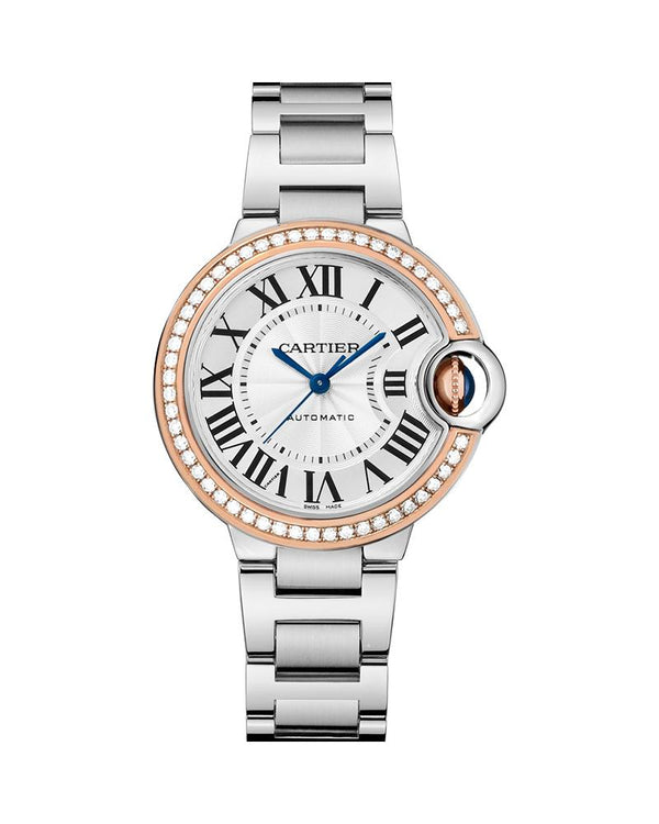 BALLON BLEU DE CARTIER, 33 MM, ROSE GOLD, STEEL, DIAMONDS