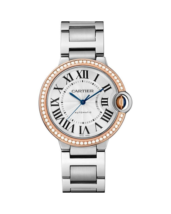 BALLON BLEU DE CARTIER, 36 MM, ROSE GOLD AND STEEL, DIAMONDS