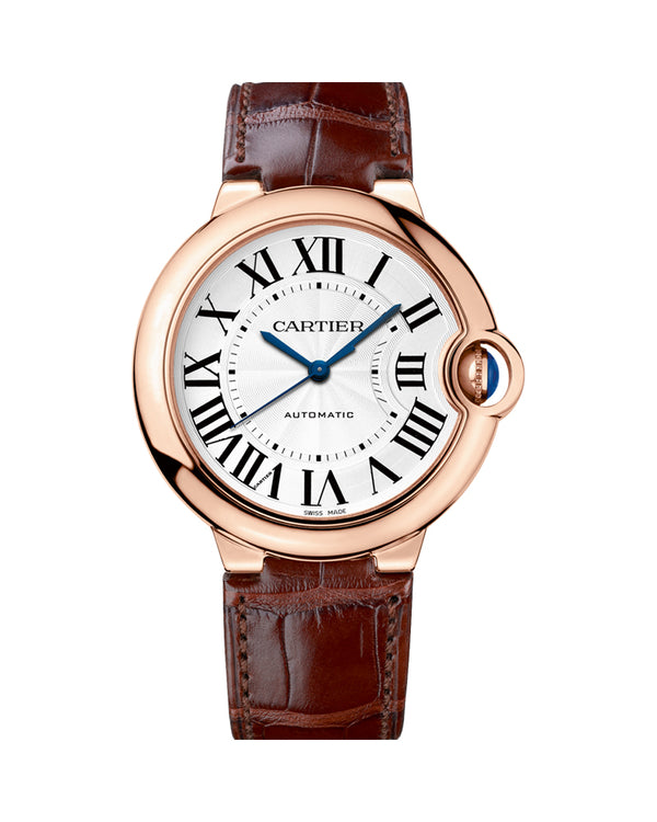 BALLON BLEU DE CARTIER, 36 MM, ROSE GOLD, LEATHER, SAPPHIRE
