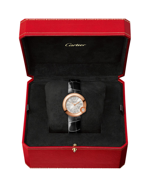 BALLON BLANC DE CARTIER, 26 MM, ROSE GOLD, DIAMOND, LEATHER