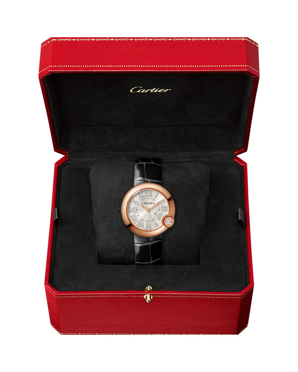 BALLON BLANC DE CARTIER, 30 MM, ROSE GOLD, DIAMOND, LEATHER