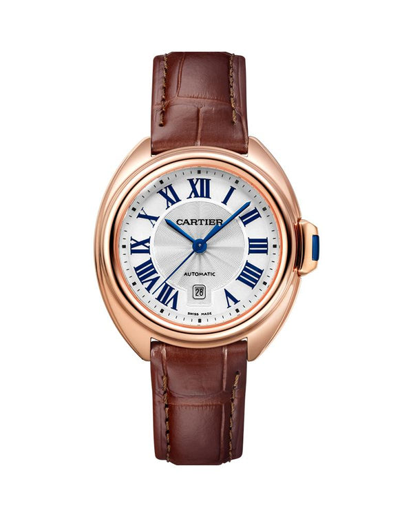 CLE DE CARTIER, 31 MM, ROSE GOLD, LEATHER