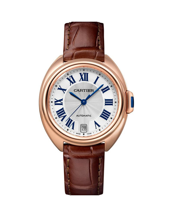 CLE DE CARTIER, 35 MM, ROSE GOLD, LEATHER