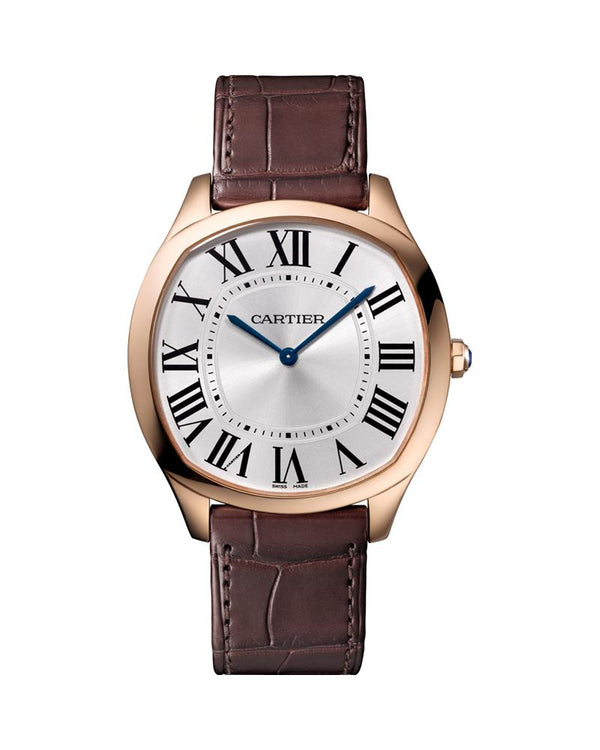 DRIVE DE CARTIER, EXTRA FLAT, LARGE MODEL, ROSE GOLD, SAPPHIRE, LEATHER