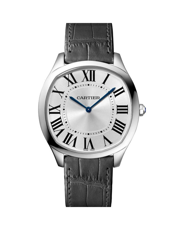 DRIVE DE CARTIER, EXTRA FLAT, WHITE GOLD, LEATHER