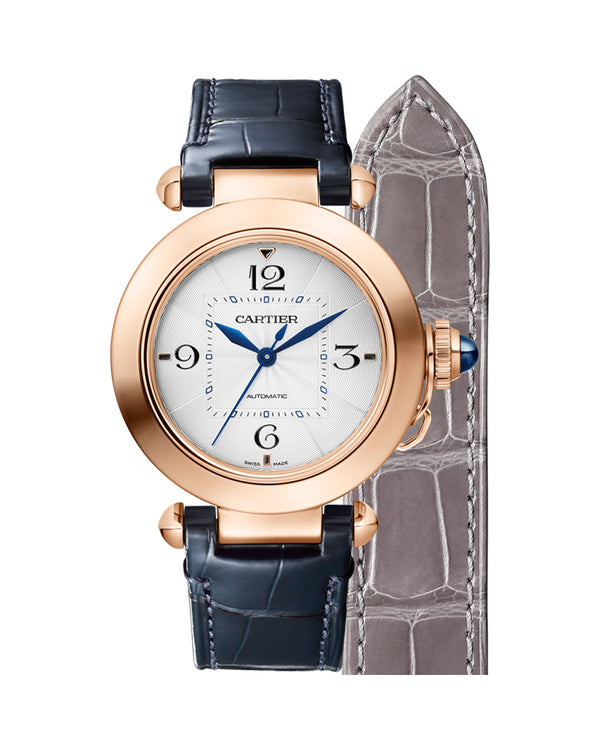 PASHA DE CARTIER, 35 MM, AUTOMATIC MOVEMENT, ROSE GOLD, 2 INTERCHANGEABLE LEATHER STRAPS