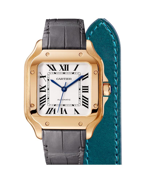 SANTOS DE CARTIER, MEDIUM, AUTOMATIC, ROSE GOLD, TWO INTERCHANGEABLE LEATHER BRACELETS