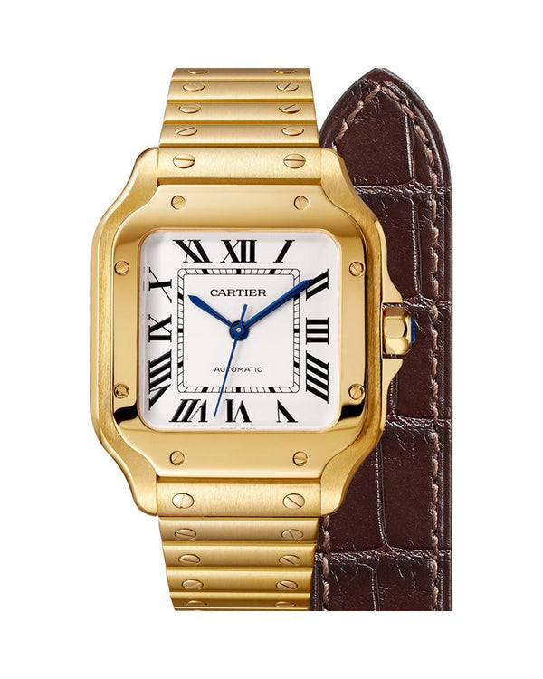 SANTOS DE CARTIER, MEDIUM, AUTOMATIC, YELLOW GOLD, INTERCHANGEABLE METAL AND LEATHER BRACELETS