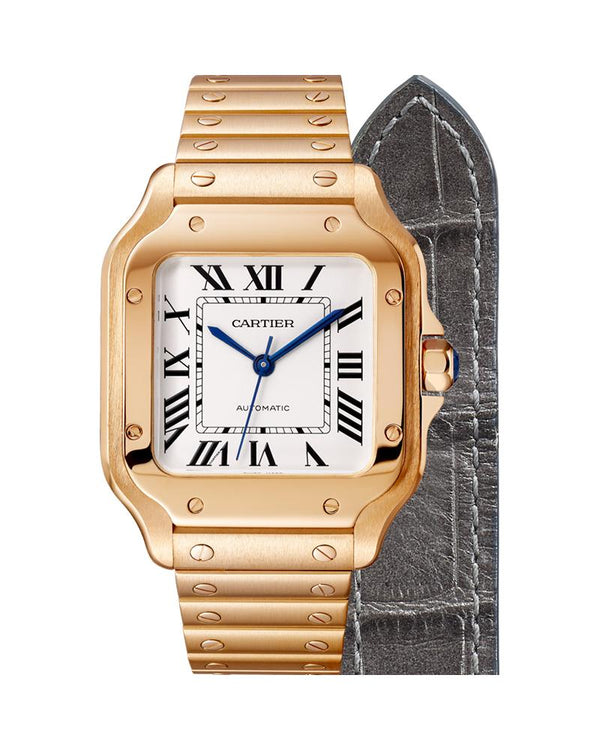 SANTOS DE CARTIER, MEDIUM, AUTOMATIC, ROSE GOLD, INTERCHANGEABLE METAL AND LEATHER BRACELETS