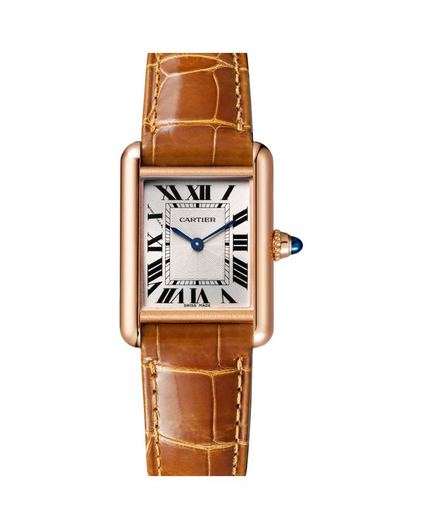 TANK LOUIS CARTIER, SMALL, ROSE GOLD, LEATHER