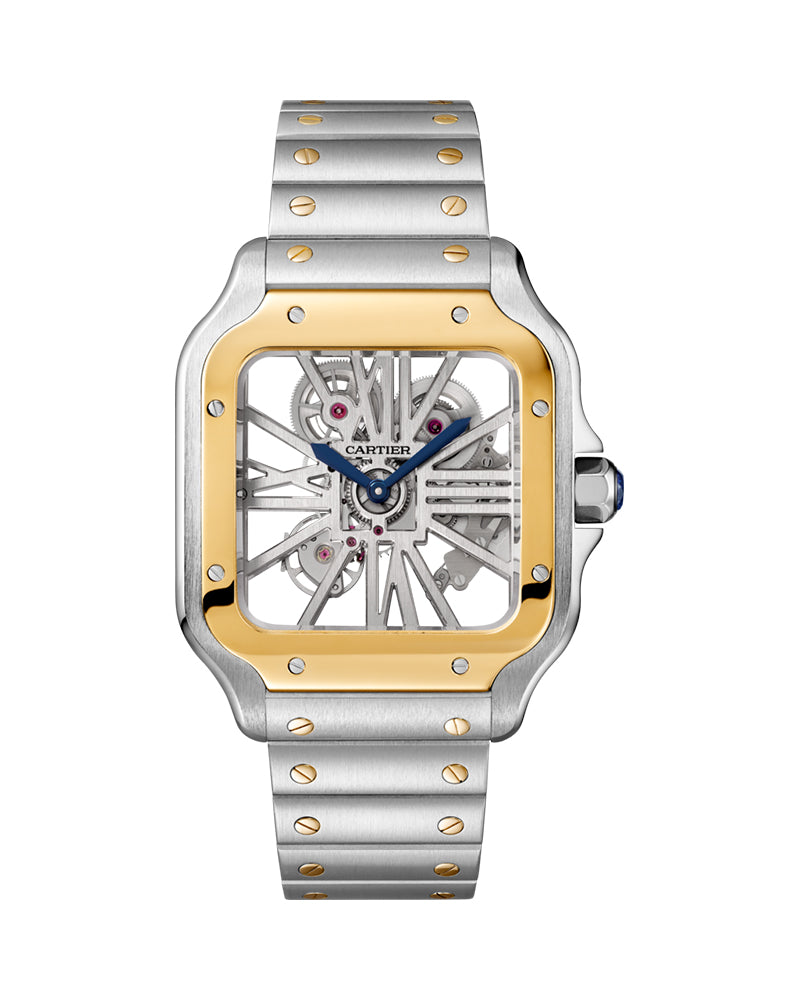 SANTOS DE CARTIER, LARGE, MANUAL, YELLOW GOLD AND STEEL, LEATHER, SKELETON, INTERCHANGEABLE METAL AND LEATHER BRACELETS