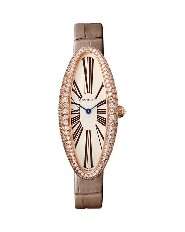 BAIGNOIRE ALLONGEE WATCH, MEDIUM MODEL, ROSE GOLD, DIAMONDS
