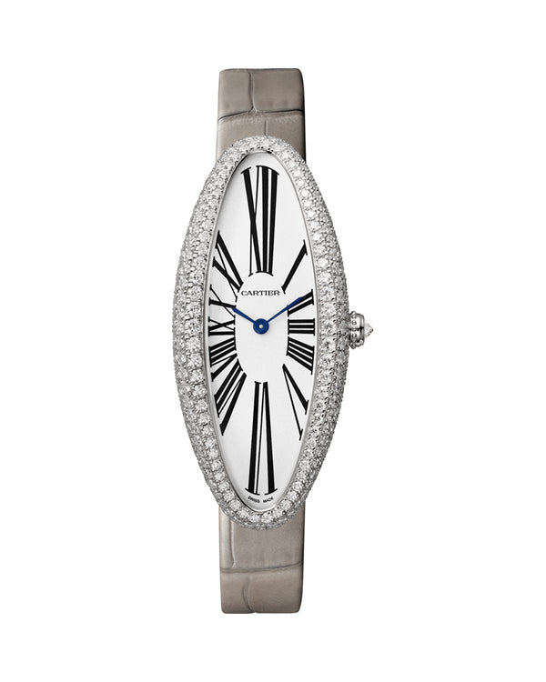 BAIGNOIRE ALLONGEE WATCH, MEDIUM MODEL, RHODIUM-FINISH 18K WHITE GOLD, DIAMONDS