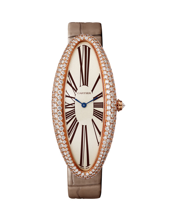 BAIGNOIRE ALLONGEE WATCH, EXTRA LARGE MODEL, ROSE GOLD, DIAMONDS