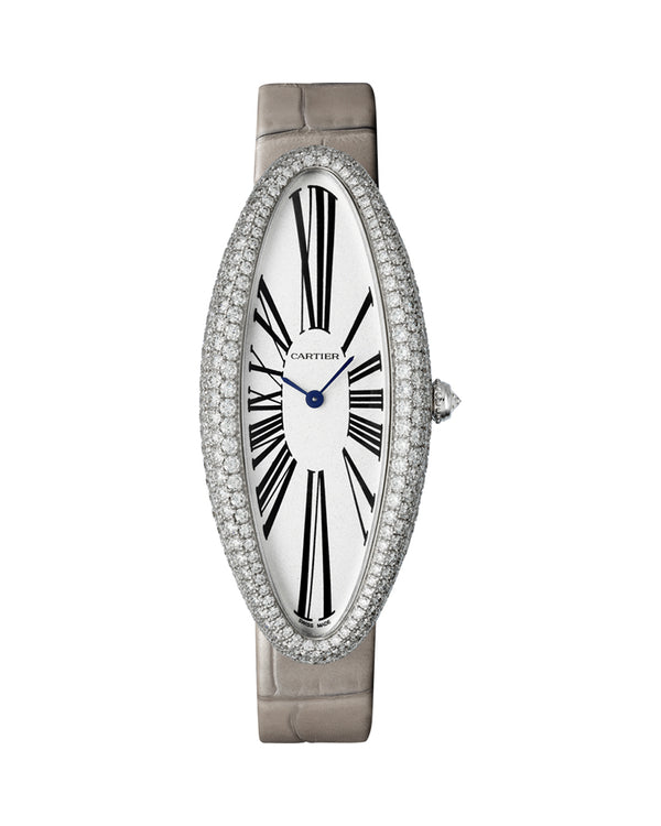 BAIGNOIRE ALLONGEE WATCH, EXTRA LARGE MODEL, RHODIUM-FINISH WHITE GOLD, DIAMONDS