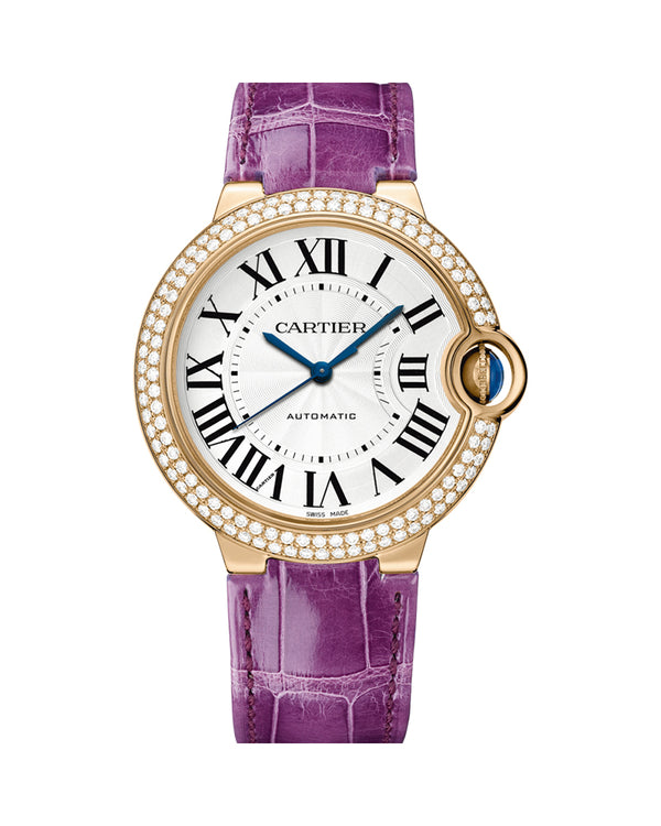 BALLON BLEU DE CARTIER, 36 MM, ROSE GOLD, LEATHER, SAPPHIRE, DIAMONDS