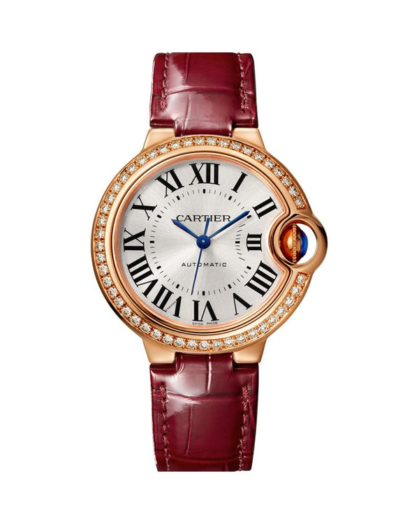 BALLON BLEU DE CARTIER, 33 MM, ROSE GOLD, DIAMONDS, LEATHER