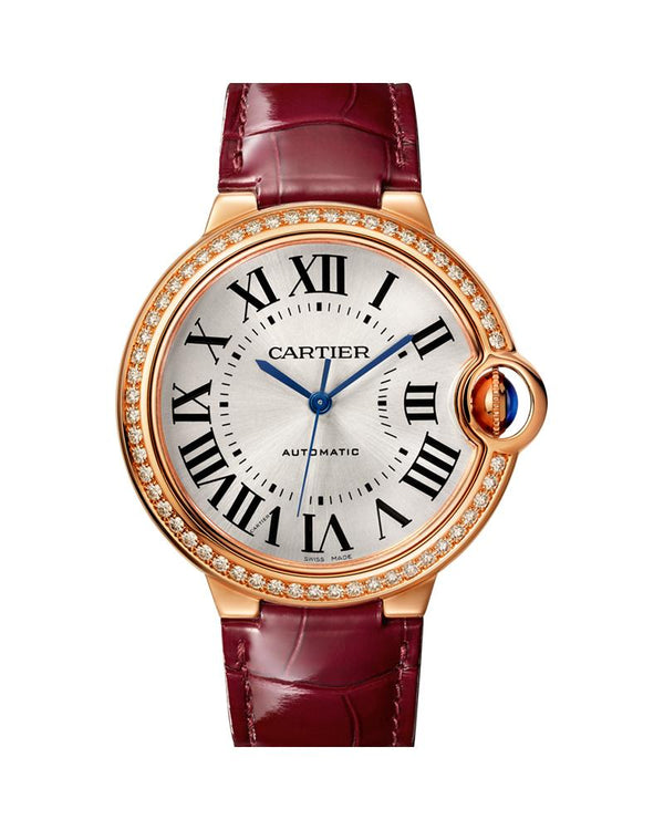 BALLON BLEU DE CARTIER, 36 MM, ROSE GOLD, LEATHER, DIAMONDS