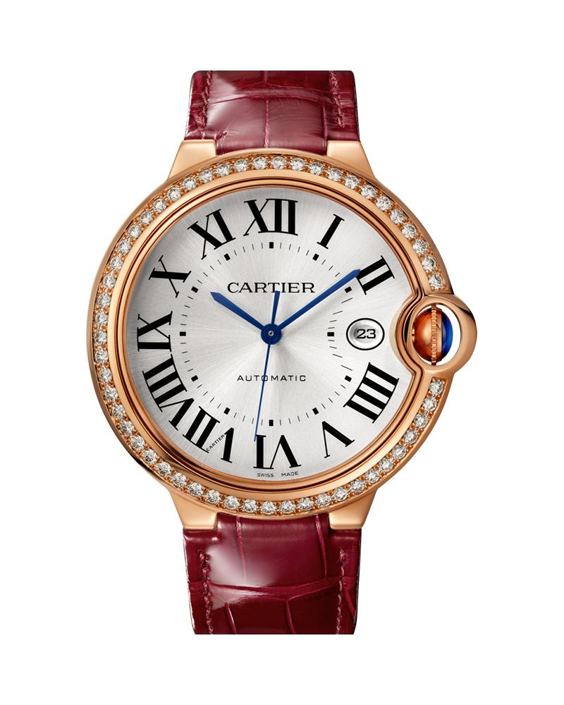 BALLON BLEU DE CARTIER, 42 MM, 18K ROSE GOLD, LEATHER, SAPPHIRE, DIAMONDS