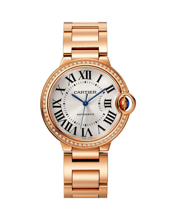 BALLON BLEU DE CARTIER, 36 MM, 18K ROSE GOLD, DIAMONDS, SAPPHIRE