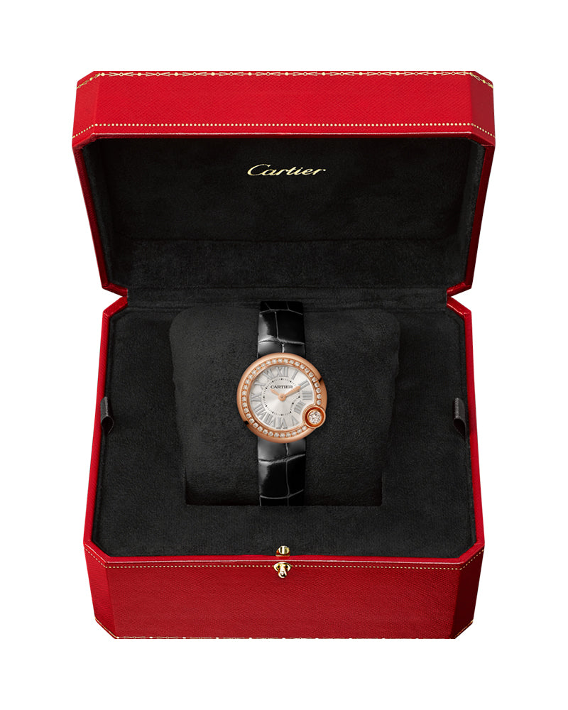 BALLON BLANC DE CARTIER, 26 MM, ROSE GOLD, DIAMONDS, LEATHER
