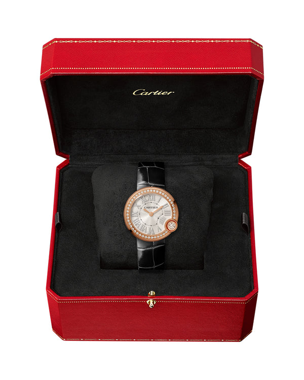 BALLON BLANC DE CARTIER, 30 MM, ROSE GOLD, DIAMONDS, LEATHER