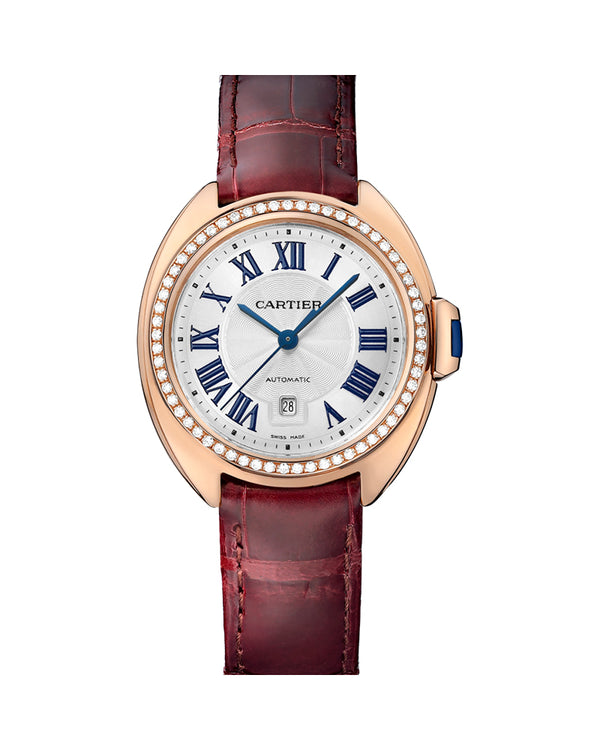 CLE DE CARTIER, 31 MM, ROSE GOLD, LEATHER, DIAMONDS