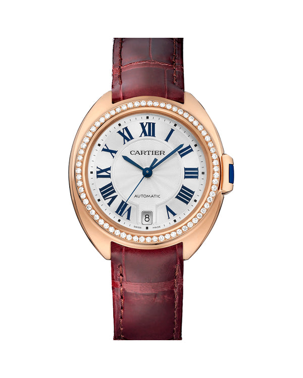 CLE DE CARTIER, 35 MM, ROSE GOLD, LEATHER, DIAMONDS
