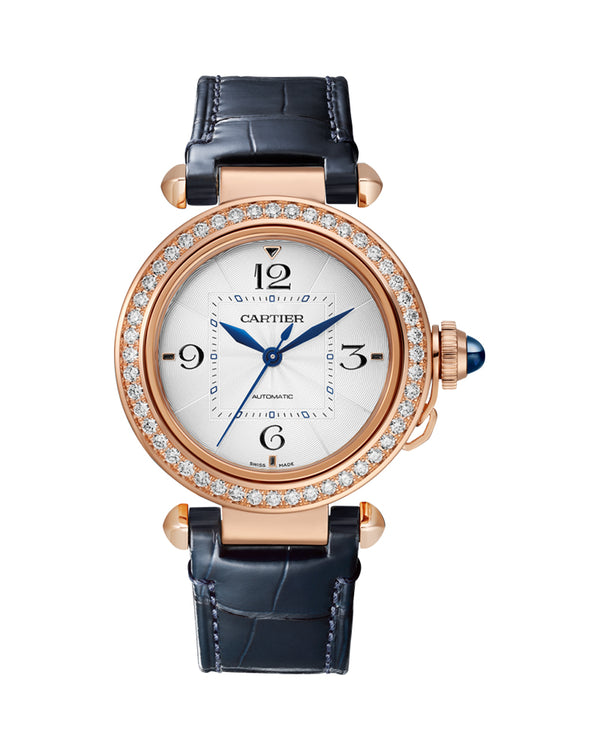 PASHA DE CARTIER, 35 MM, AUTOMATIC MOVEMENT, ROSE GOLD, DIAMONDS, 2 INTERCHANEABLE LEATHER STRAPS