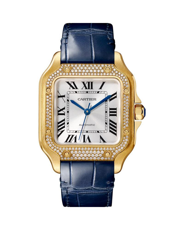 SANTOS DE CARTIER, MEDIUM, AUTOMATIC, YELLOW GOLD, DIAMONDS, TWO INTERCHANGEABLE LEATHER BRACELETS