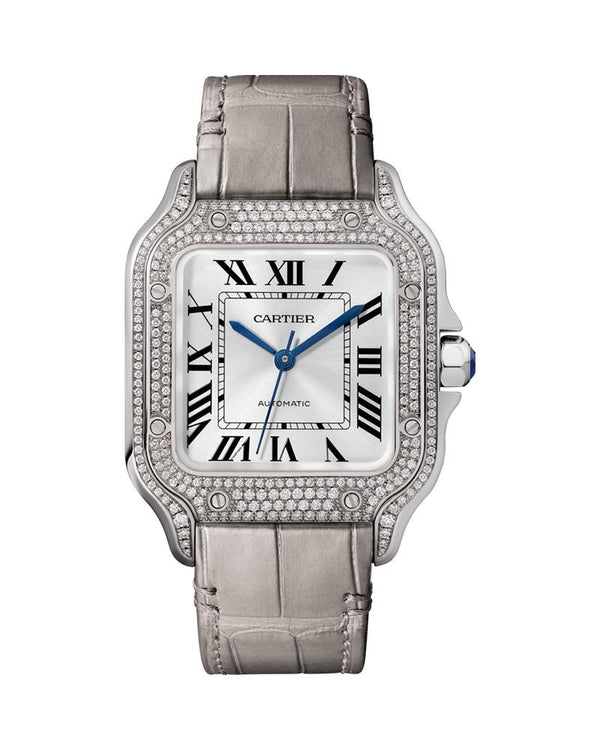 SANTOS DE CARTIER, MEDIUM, AUTOMATIC, WHITE GOLD, DIAMONDS, TWO INTERCHANGEABLE LEATHER BRACELETS