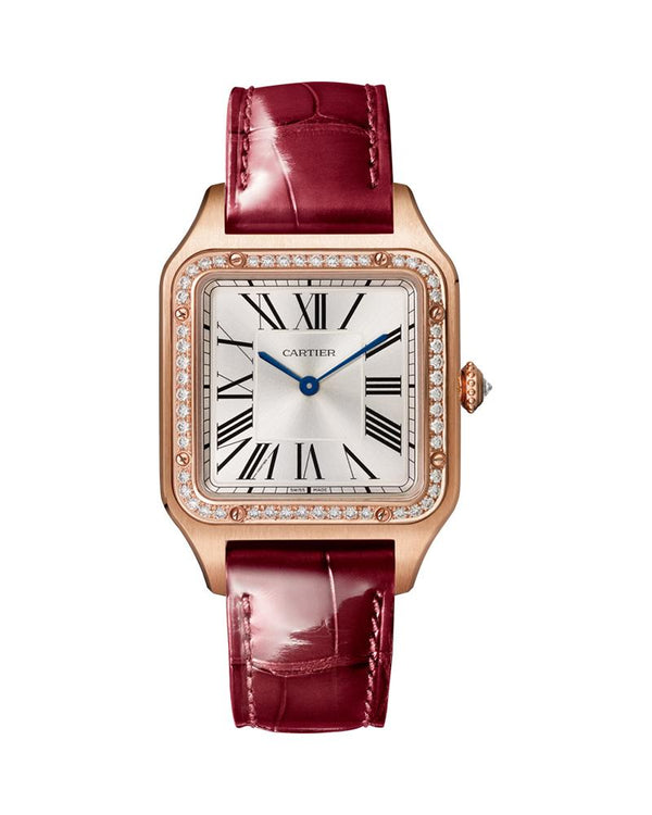 SANTOS DUMONT, LARGE, ROSE GOLD, LEATHER, DIAMONDS