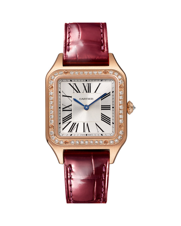 SANTOS DUMONT, SMALL, ROSE GOLD, LEATHER, DIAMONDS