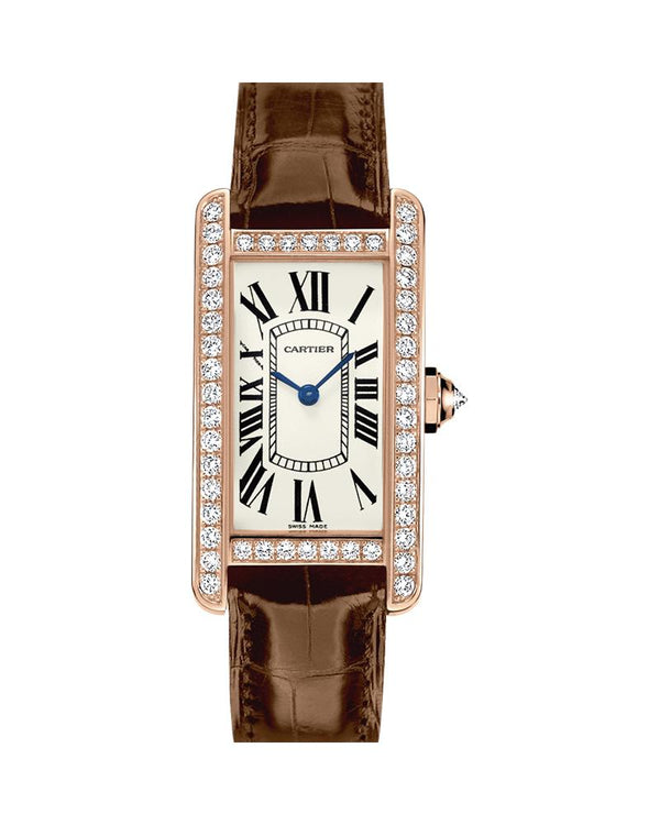 TANK AMERICAINE, SMALL, ROSE GOLD, LEATHER, DIAMONDS