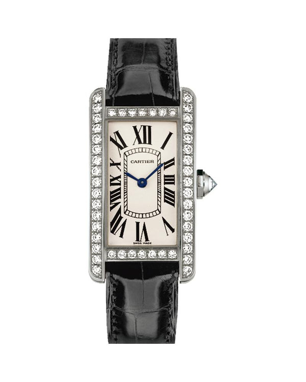 TANK AMERICAINE, SMALL, RHODIUM-FINISH, 18K WHITE GOLD, LEATHER, DIAMONDS
