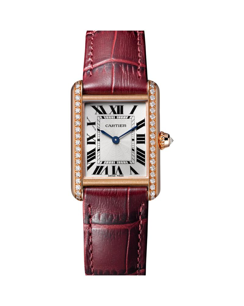 TANK LOUIS CARTIER, SMALL, ROSE GOLD, LEATHER, DIAMONDS