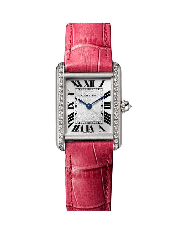 TANK LOUIS CARTIER, SMALL, RHODIUM-FINISH 18K WHITE GOLD, LEATHER, DIAMONDS