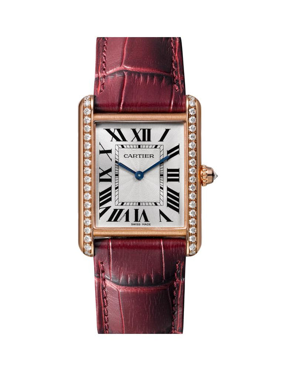 TANK LOUIS CARTIER, LARGE, ROSE GOLD, LEATHER, DIAMONDS