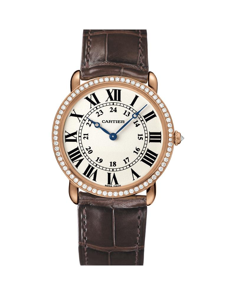 RONDE LOUIS CARTIER, 36MM, ROSE GOLD, LEATHER, DIAMONDS