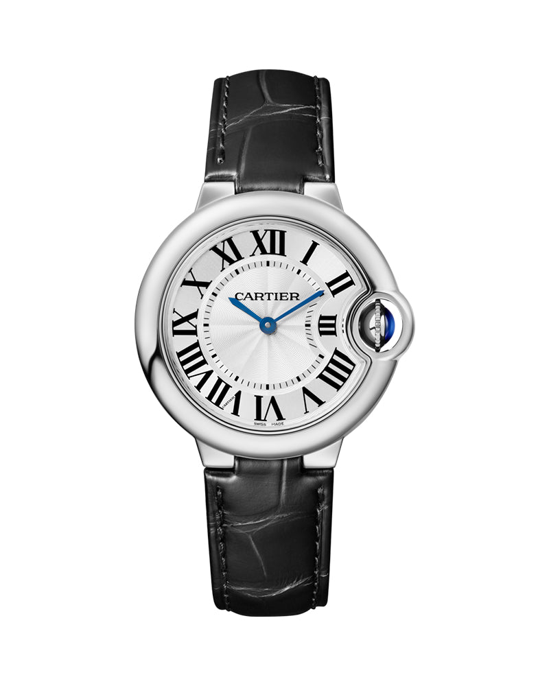 BALLON BLEU DE CARTIER, 33 MM, STEEL, LEATHER