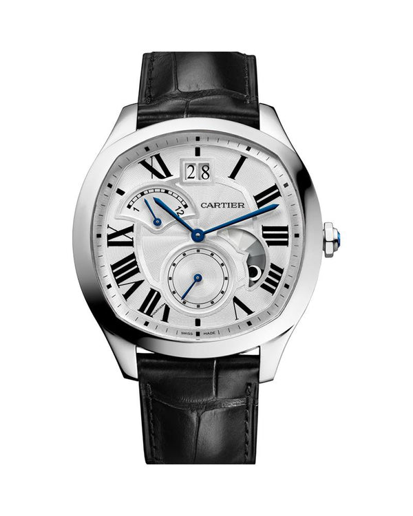 DRIVE DE CARTIER WATCH, LARGE MODEL, STEEL, LARGE DATE, RETROGRADE SECOND TIME ZONE AND DAY NIGHT INDICATOR, LEATHER