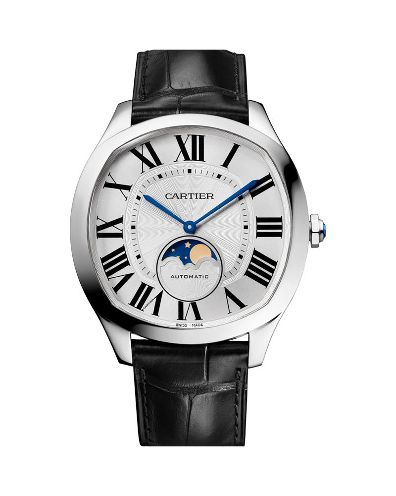 DRIVE DE CARTIER, LARGE MODEL, STEEL, MOONPHASE, LEATHER